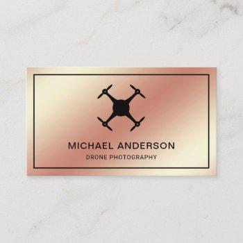 faux rose gold foil modern drone photography business card
