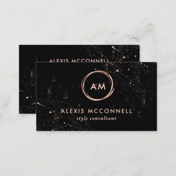 faux rose gold look on black marble | circle business card