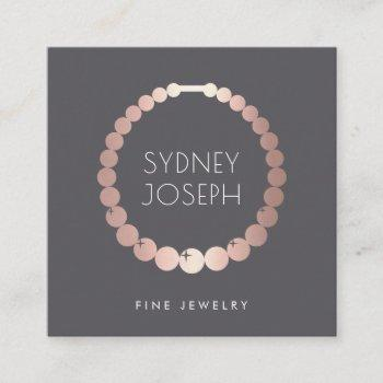 faux rose gold necklace logo | jewelry design square business card