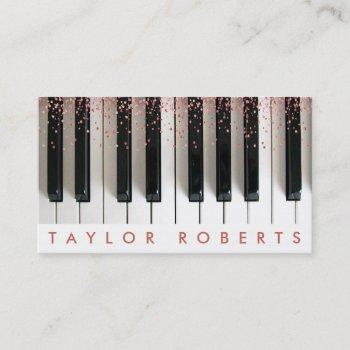 faux rose gold pink dots pianist music business card