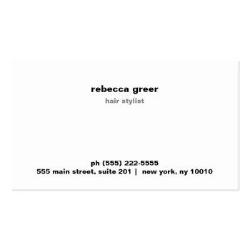 Small Faux Silver Sequins Bold Hair Stylist Salon Business Card Back View