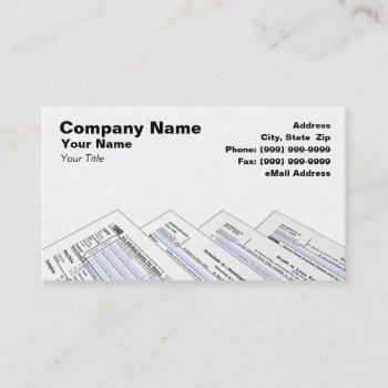 federal tax forms on white background business card