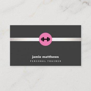 female fitness personal trainer pink dumbbell 2 business card
