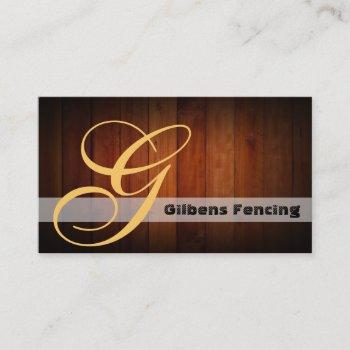 fencing image monogram business cards