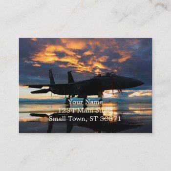fighter jet airplane at sunset military gifts business card