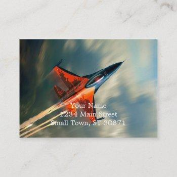 fighter jet military airplane speed business card