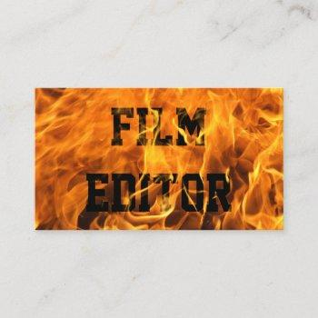 film editor unique burning fire bold business card