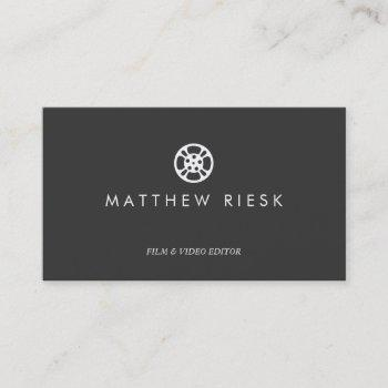 film reel logo, film and video editor black business card