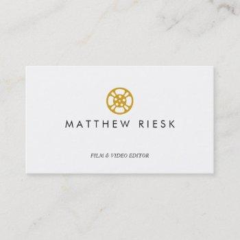 film reel logo, film and video editor white business card