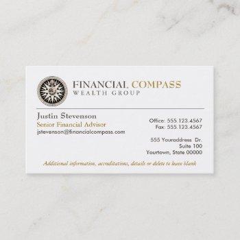 financial advisor analyst finance compass business card
