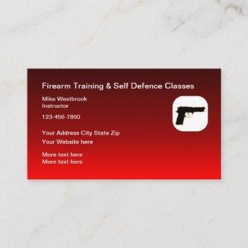 firearms and self defense classes business card