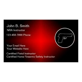 Small Firearms Instructor Business Cards Front View