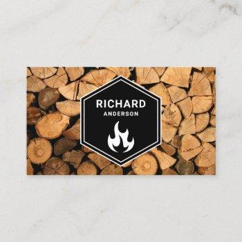 firewood wooden logs tree service flame business card