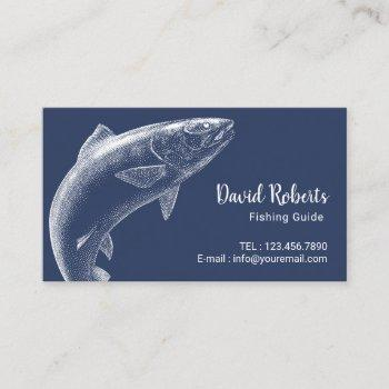 fishing guide professional fisherman navy blue business card