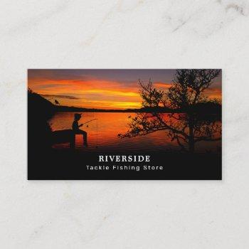 fishing lake landscape, fisherman, fisher business card
