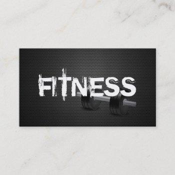 fitness & personal trainer dark metal business card