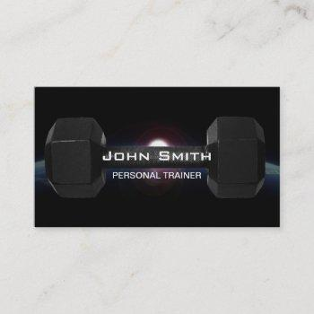 fitness personal trainer dumbbell & earth business card