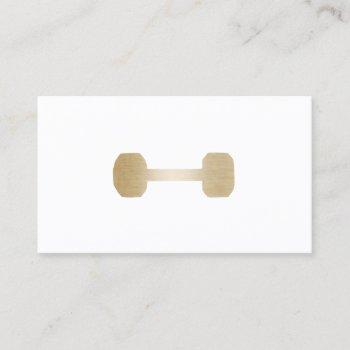 fitness personal trainer minimal gold dumbbell business card