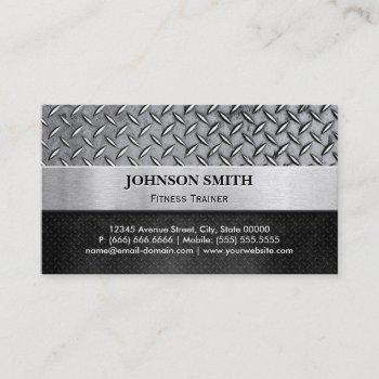 fitness trainer - diamond metal plate business card