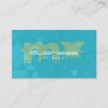 fitness trainer modern monogram teal business card