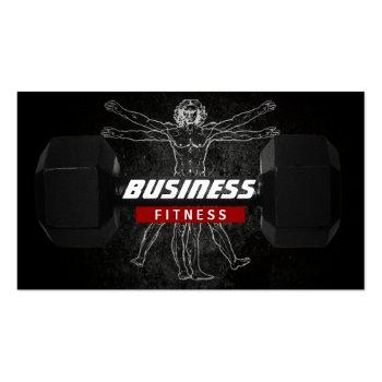 Small Fitness Trainer Perfect Body Professional Grunge Business Card Front View