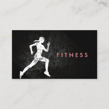 fitness trainer running girl professional business card