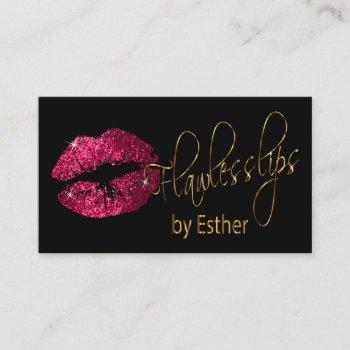 flawless lips - hot pink glitter and  gold business card
