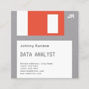 floppy disc disquette faux look crafted square business card