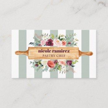 floral bakery patisserie stripe burgundy business card