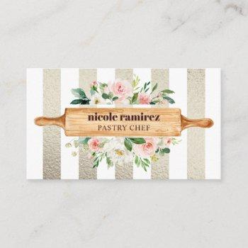 floral bakery rolling pin patisserie gold business card