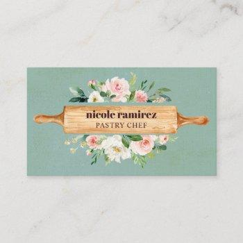 floral bakery rolling pin patisserie sea green business card