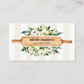 floral bakery rolling pin patisserie striped beige business card