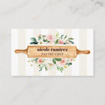 floral bakery rolling pin patisserie striped business card