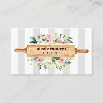 floral bakery rolling pin patisserie striped gray business card
