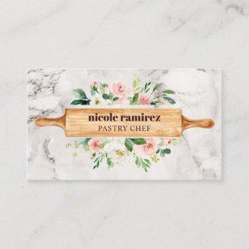 floral bakery rolling pin patisserie white marble business card
