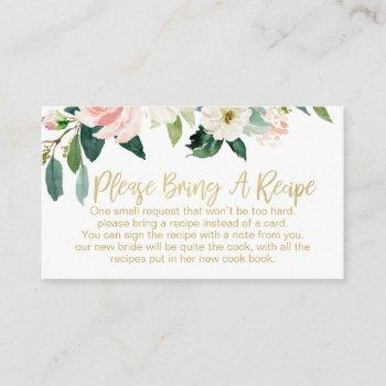 floral bridal shower recipe card request