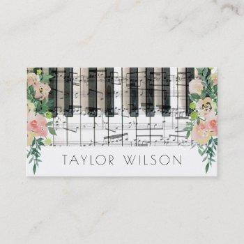 floral decor pianist music teacher business card