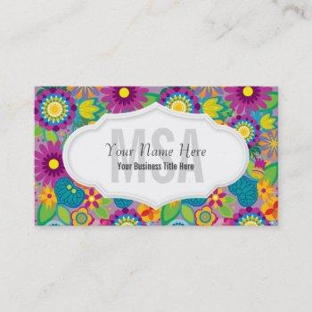floral flower power salon colorful blooms business card