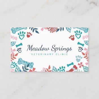 floral & foliage pet paw print pattern business card