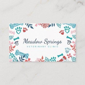 floral & foliage pet paw print pattern business card