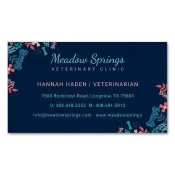 floral & foliage pet paw print pattern business card magnet