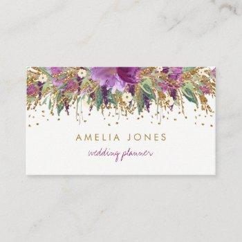 floral glitter sparkling amethyst business card