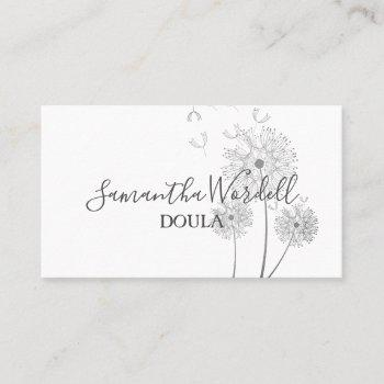 floral illustration doula or midwife business card