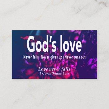 floral love never fails christian scripture business card