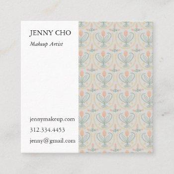 floral lucile tiles geometric soft grey pink square business card