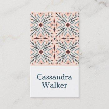 floral pattern dolores tiles pink business card