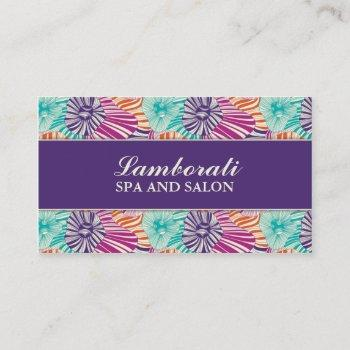 floral pattern elegant hairdresser salon groupon business card