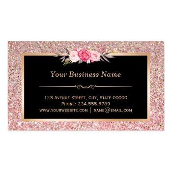 Small Floral Rose Gold Glitter Makeup Artist Hair Salon Business Card Back View