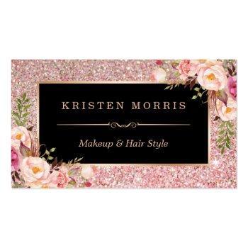 Small Floral Rose Gold Glitter Makeup Artist Hair Salon Business Card Front View