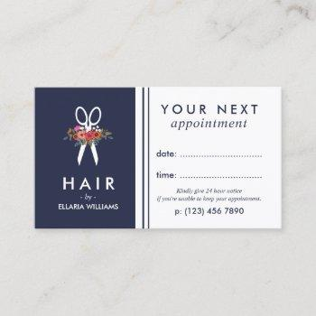 floral scissor navy blue hair stylist appointment